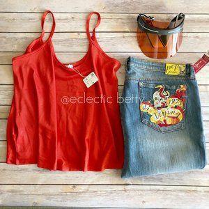 Zara Red Ribbed Swing Tank Low Luster Top